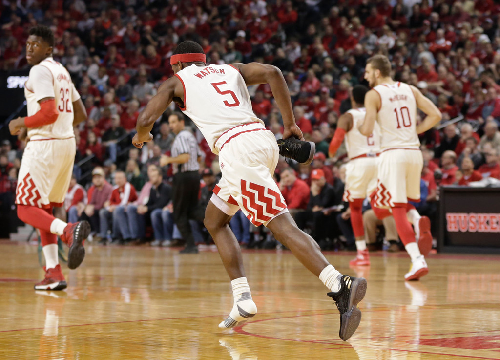 . Nebraska\'s Glynn Watson Jr. (5) runs downcourt after losing his shoe during the first half of an NCAA college basketball game against Michigan State in Lincoln, Neb., Thursday, Feb. 2, 2017. (AP Photo/Nati Harnik)