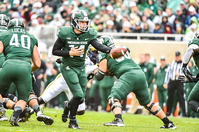 EAST LANSING, MI - OCTOBER 20:  College Football game between University of Michigan Wolverines and Michigan State University Spartans at Spartan Stadium on October 20, 2018 in East Lansing, MI