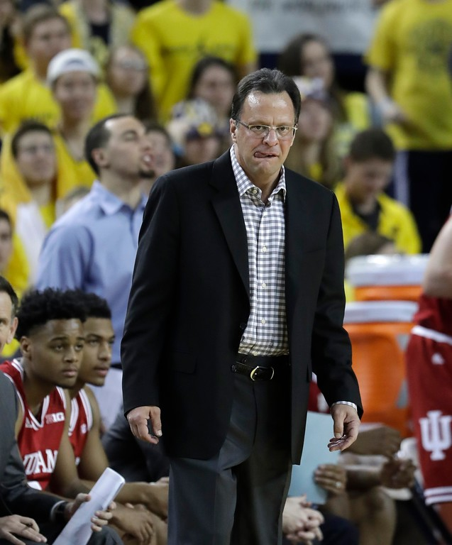 . Indiana head coach Tom Crean watches from the sidelines during the first half of an NCAA college basketball game against Michigan, Thursday, Jan. 26, 2017, in Ann Arbor, Mich. (AP Photo/Carlos Osorio)