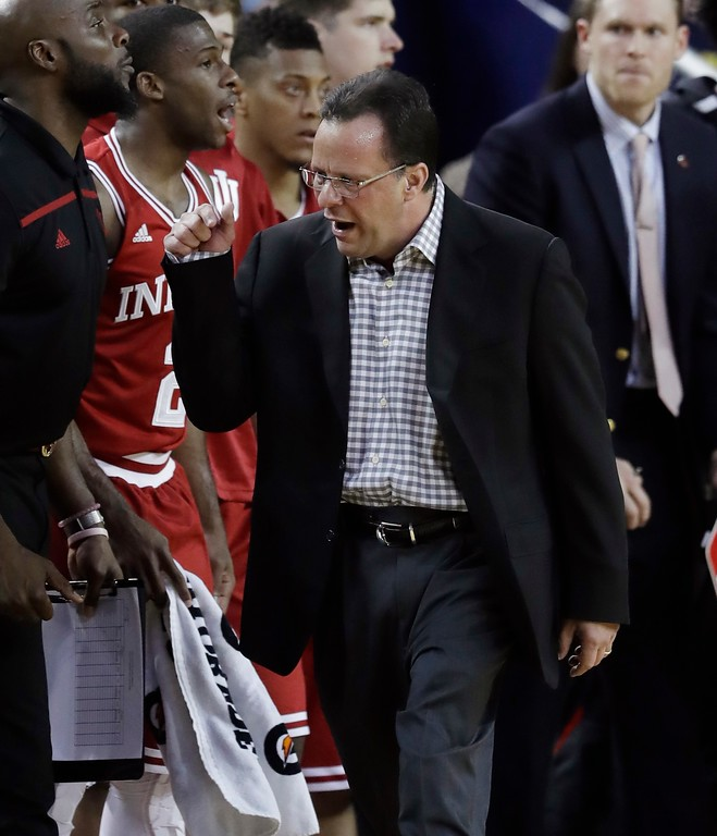 . Indiana head coach Tom Crean walks the sidelines during the first half of an NCAA college basketball game against Michigan, Thursday, Jan. 26, 2017, in Ann Arbor, Mich. (AP Photo/Carlos Osorio)
