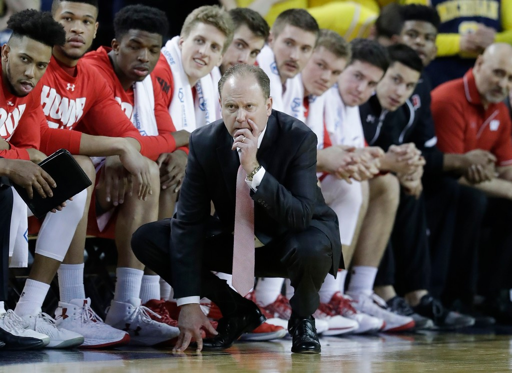 . Wisconsin head coach Greg Gard watches from the bench during the second half of an NCAA college basketball game against Michigan, Thursday, Feb. 16, 2017, in Ann Arbor, Mich. (AP Photo/Carlos Osorio)