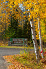 Bond Falls Scenic Site roadside sign with fall foliage color in the trees near Paulding, Michigan, USA.