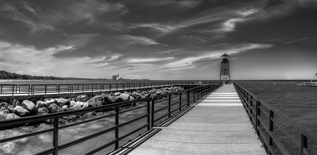 Charlevoix Harbor in Black and White
