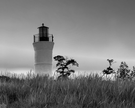 Lighthouse among Dune Grass (in Black and White)