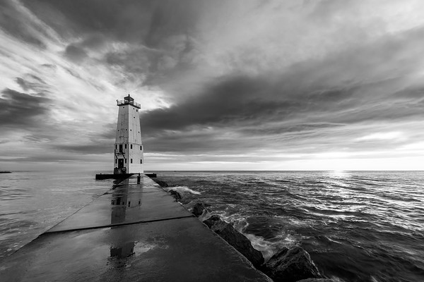 North Breakwater in Black and White