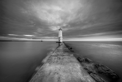 North Breakwater Light in Black and White