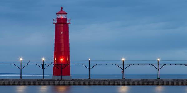 Panorama of Grand Haven Inner Range Lighthouse