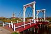 A Dutch style bridge over a small canal on Windmill Island, Holland, Michigan, USA.