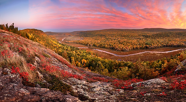 Autumn Splendor Panoramic - Big Carp River Valley (Porcupine Mountains State Park - Upper Michigan)