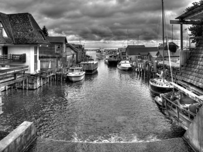The Town on the River (Black and White)