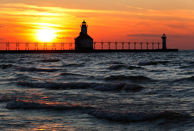 Blazing Light - St. Joseph North Pierhead Lights (St. Joseph, MI)