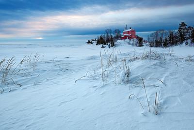 Red Winter Light - Marquette Harbor Lighthouse (Marquette, MI)