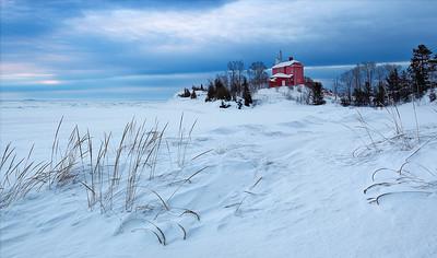 Red Winter Light II - Marquette Harbor Lighthouse (Marquette, MI)