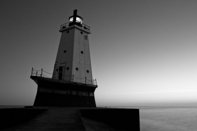 Ludington Lighthouse in Black and White