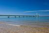 The Mackinac bridge over the Straits of Mackinac, Michigan, USA.