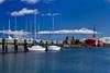 The city pier and Coastguard Cutter Maritime Museum at Mackinaw City, Michigan, USA.