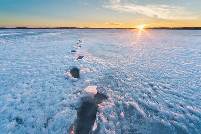 Footprints in Ice on Bear Lake