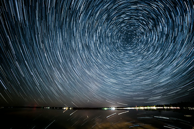 Star Trails over Bear Lake, Michigan