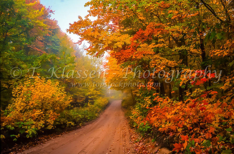 Fall foliage color and a rural road in the hills near Marquette, Michigan, USA.