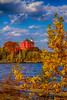 The historic Marquette Harbor Lighthouse on the shores of Lake Superior at Marquette, Michigan, USA.