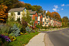 The Harbor Ridge Townhouses with fall foliage color in Marquette, Michigan, USA.