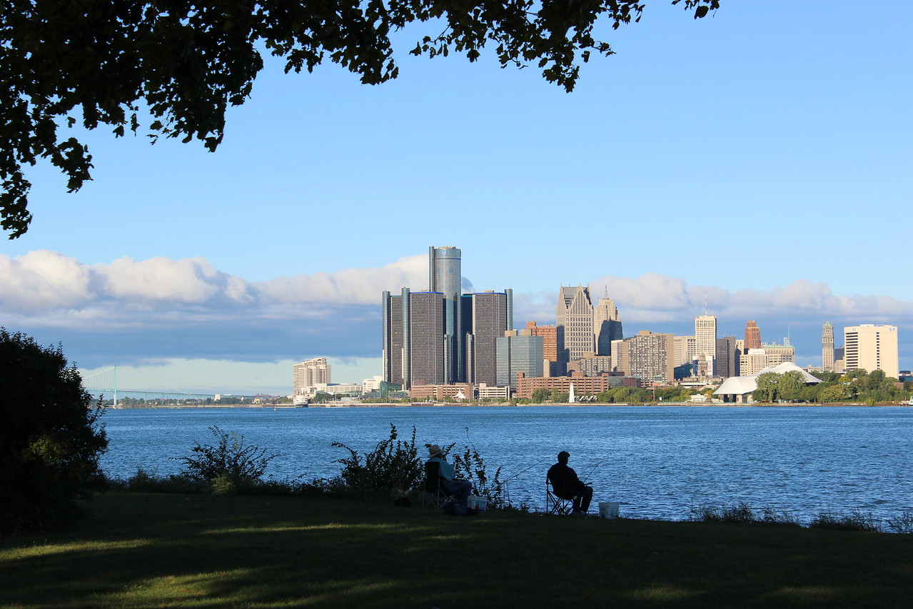 Fishing the Detroit River with City View