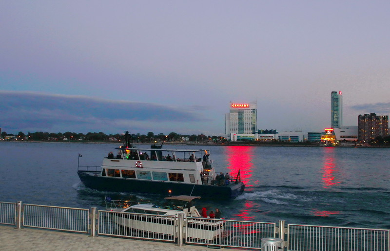 View of Caesars Complex across the Detroit River in Windsor, Canada