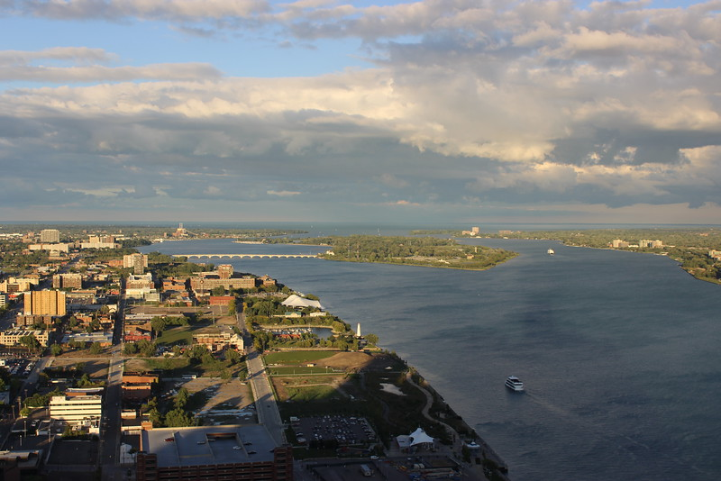 View of the Detroit River and Belle Isle Park