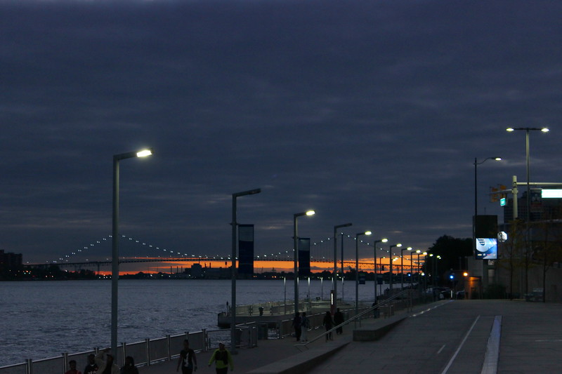 Detroit River Boardwalk and Ambassador Bridge