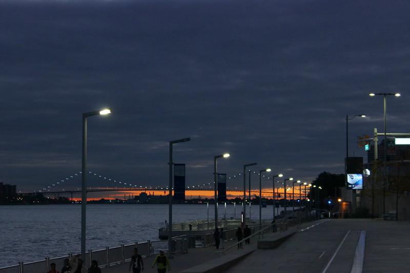 Detroit River Boardwalk and Ambassador Bridge