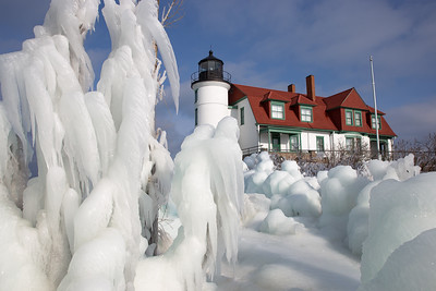 Point Betsie wreathed in ice.