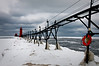 MI 037<br /> <br /> A cold January day at the South Haven lighthouse, South Haven, Michigan.