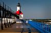 MI 045                         A very windy day at the St. Joseph lighthouse on Lake Michigan.