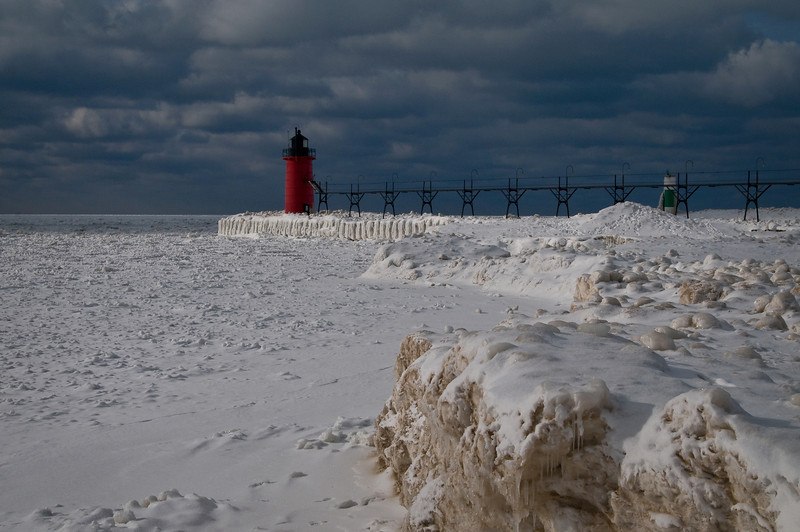 MI 038                    A cold January day at the South Haven lighthouse, South Haven, Michigan.