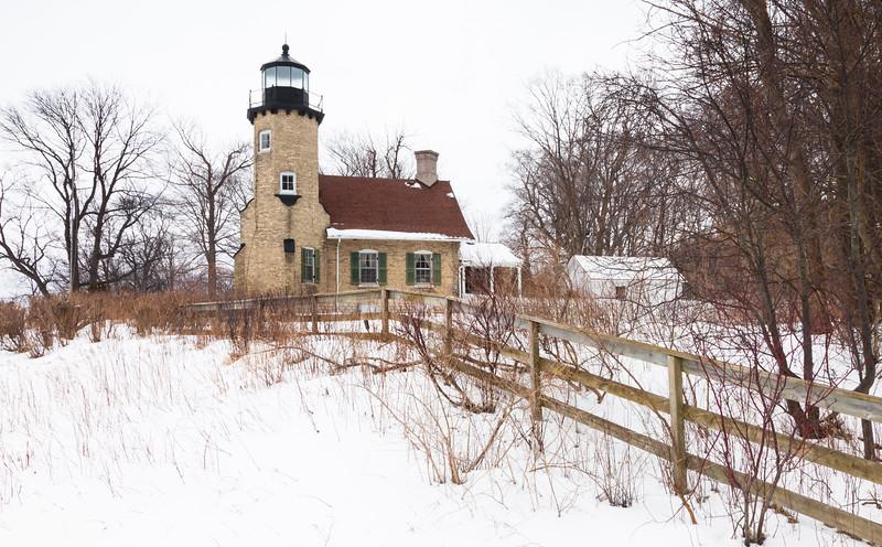 White River Lighthouse in winter. Whitehall, MI<br /> <br /> MI-100213-0006