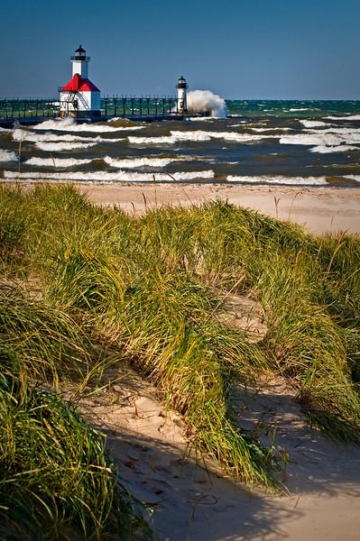 MI 042                         A very windy day at the St. Joseph lighthouse on Lake Michigan.