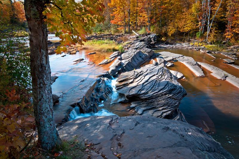 MI 099                         Autumn at Bonanza Falls on the Big Iron River in Michigan's Upper Peninsula.