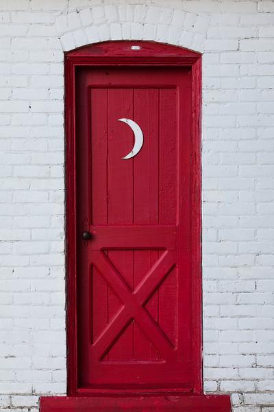 Door on one of the building near the Sturgeon Point Lighthouse. Harrisville, MI<br /> <br /> MI-100726-0205