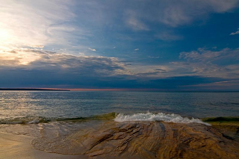 MI 004                           Sunset over Lake Superior at Miner's Beach in Michigan's Upper Peninsula.