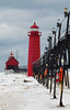 Grand Haven lights in winter. Grand Haven, MI<br /> <br /> MI-090125-0034