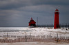 MI 036                    A cold January day at the Grand Haven lighthouse, Grand Haven, Michigan.