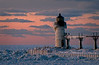 MI 039                       A very cold sunset at the St. Joseph Outer Light, St. Joseph, Michigan.