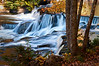 MI 187                        Fall color reflected in the surface of the Ontanogan River as it tumbles over Upper Bond Falls in Michigan's Upper Peninsula.