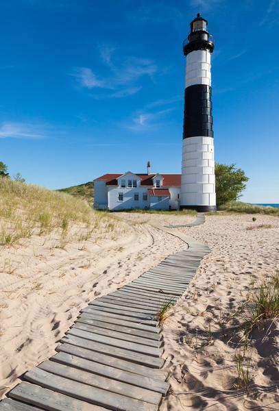 Boardwalk leading to the Big Sable Lighthouse. Ludington, MI<br /> <br /> MI-090626-0130