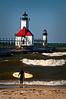 MI 043                       A very windy day at the St. Joseph lighthouse on Lake Michigan.