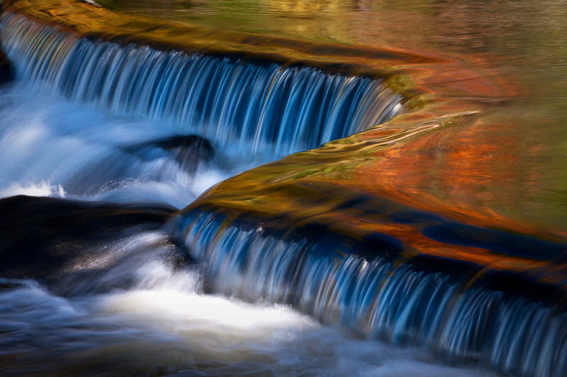 MI 094                          Fall color reflected in the surface of the Ontanogan River as it tumbles over Upper Bond Falls in Michigan's Upper Peninsula.