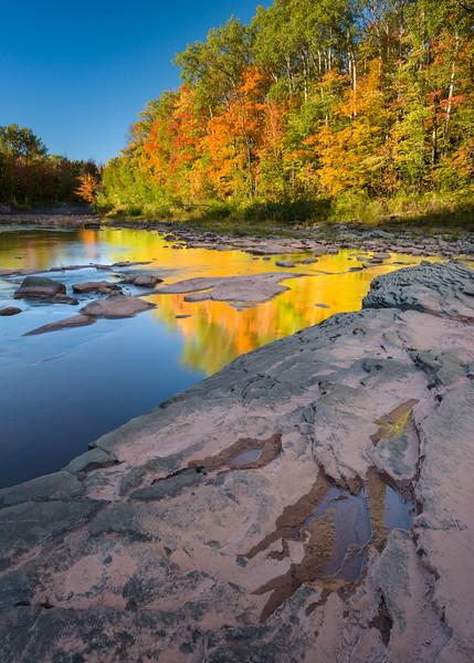MI 235<br /> <br /> Autumn reflections in the Big Iron River.  Ontonagon County, Michigan.
