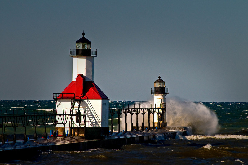 MI 044                         A very windy day at the St. Joseph lighthouse on Lake Michigan.