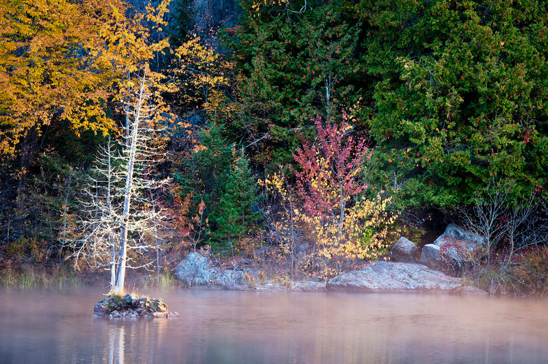 MI 173                     A light mist rises from the suface of the Michigamme River at sunrise on an autumn moring in Michigan's Upper Peninsula.