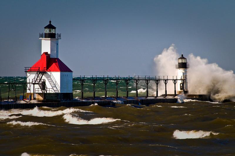 MI 041                       A very windy day at the St. Joseph lighthouse on Lake Michigan.